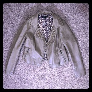 Forever 21 Tan Faux Leather Studded Bomber Jacket